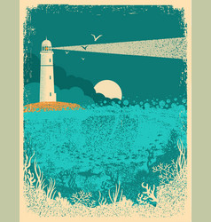 Lighthouse on sunset with sea wavesunderwater sea vector