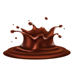 Liquid chocolate splash with drops around isolated vector