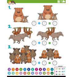 Maths addition educational task with wild animals vector