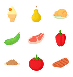 meat marinade icons set cartoon style vector image