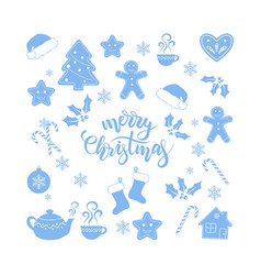 Merry christmas brush calligraphy vector