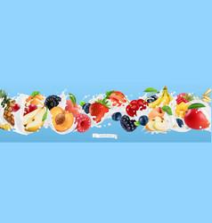 Milk splash yogurt with fruits and berries vector