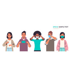 Mix race people wearing face mask covid-19 vector