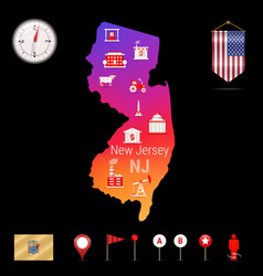 New jersey map night view compass icon map vector