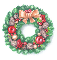 new year and christmas wreath traditional winter vector image