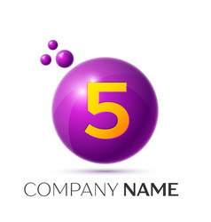 Number five splash logo purple dots and bubbles vector