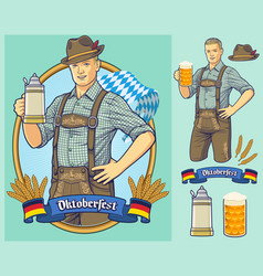 oktoberfest cartoon character design for poster vector image