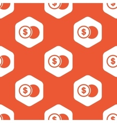 Orange hexagon dollar coin pattern vector