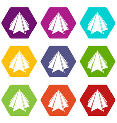 origami mountain icons set 9 vector image