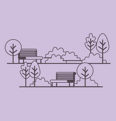 park scene with chair vector image