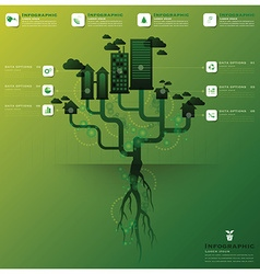 Pollution tree and root infographic design vector