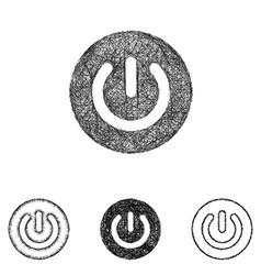 Power icon set - sketch line art vector