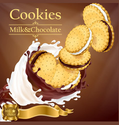 promotion banner with cookies and splashes vector image