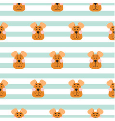 puppy head seamless pattern cartoon design vector image