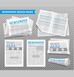 Realistic newspaper transparent set vector
