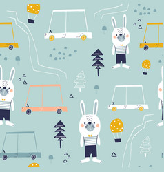 seamless pattern with cute bunny cartoon car and vector image