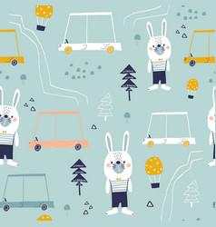 Seamless pattern with cute bunny cartoon car vector