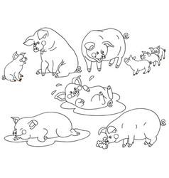 set cute cartoon pigs vector image