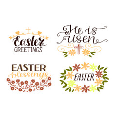 set of 4 hand lettering quotes he is risen vector image