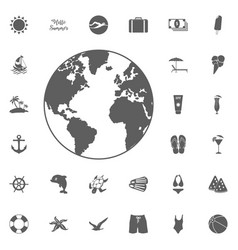 set of black globe icons vector image