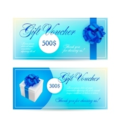 set of blue gift vouchers with ribbons vector image