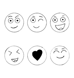 Set of hand drawn happy emoji isolated on white vector