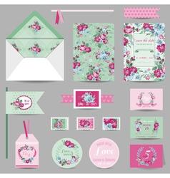 Set of Wedding Stationary - Invitation Card vector
