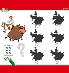 Shadow activity game with farm animals vector
