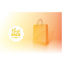 Shopping bag sale banner with 50 discount vector