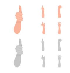 Sign language cartoonmonochrome icons in set vector