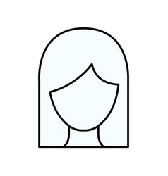 Sketch silhouette of faceless woman with straight vector