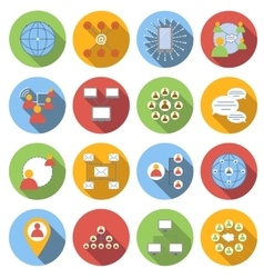 Social network flat icons set vector image