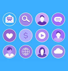 social network searching set vector image