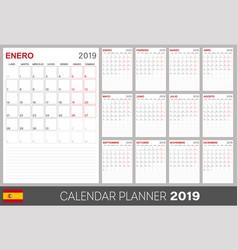 Spanish calendar 2019 vector
