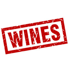 Square grunge red wines stamp vector