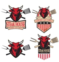steak house Set of the emblems with kitchen tools vector image