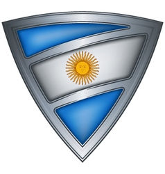 steel shield with flag argentina vector image vector image