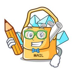 Student the bag with shape mail cartoon vector