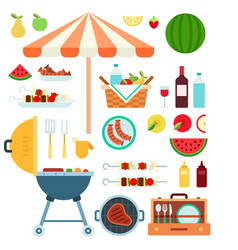 summer barbecue grill flat vector image