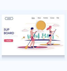 sup board website landing page design vector image