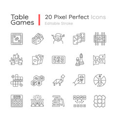Table games pixel perfect linear icons set vector