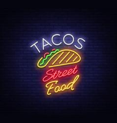 Tacos logo in neon style neon sign symbol vector