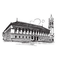 The boston public library vintage vector