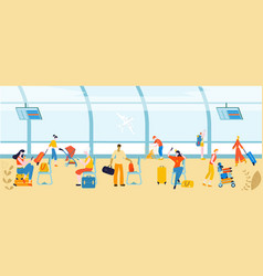tourists with baggage in airport people traveling vector image