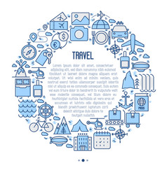 travel and vacation concept in circle vector image