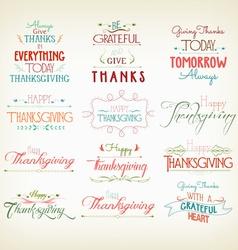 Vintage Typographic Thanksgiving Design Set vector