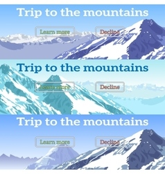 Web banners set on the theme of mountains vector