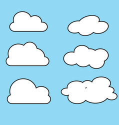 white cloud icon set fluffy clouds cute cartoon vector image