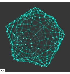 Wireframe Object with Dots 3D Geometric Shape vector