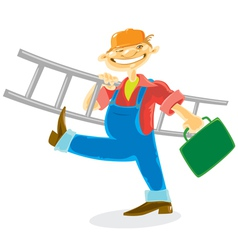 Worker with ladder vector image